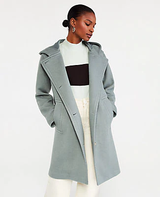 Ann Taylor Petite Hooded Duffle Coat In Blurred Teal