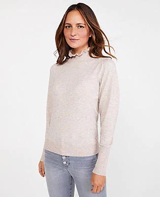 Ann Taylor Petite Ruffle Mock Neck Sweater In Maple Heather