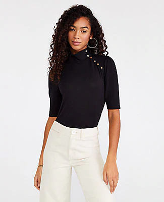 Ann Taylor Petite Button Mock Neck Top In Black