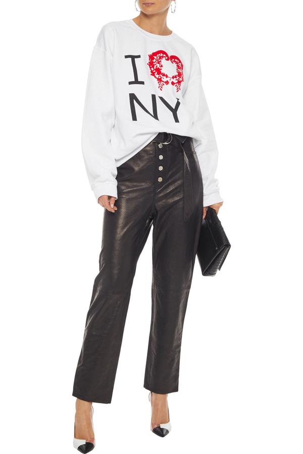 Rosie Assoulin Flocked Printed Cotton-blend Fleece Sweatshirt In White