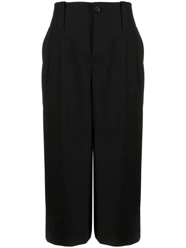 Jw Anderson Cropped Wide Leg Trousers In Black