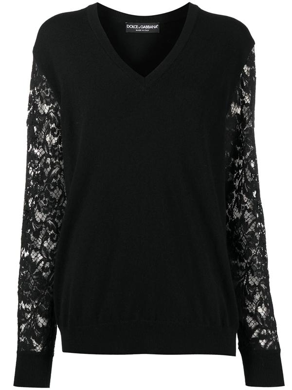 Dolce & Gabbana Lace-sleeve V-neck Jumper In Black