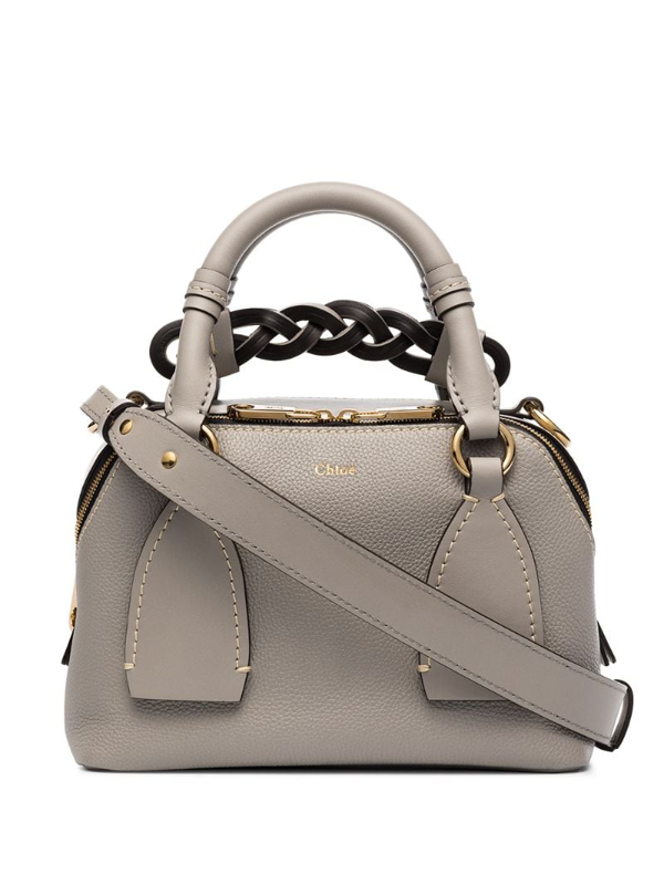 "Chloé Daria' Braided Handle Grain Leather Smallshoulder Bag"" In Grey"