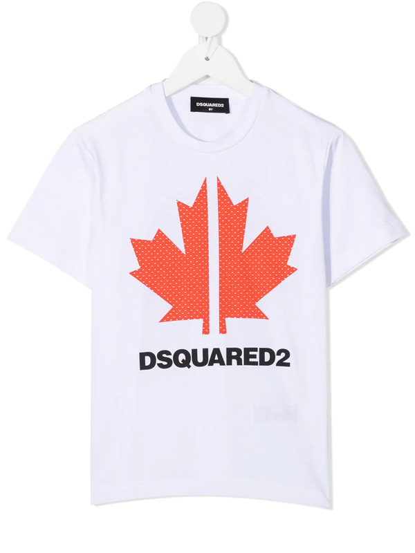 Dsquared2 Kids' Printed Cotton Jersey T-shirt In White