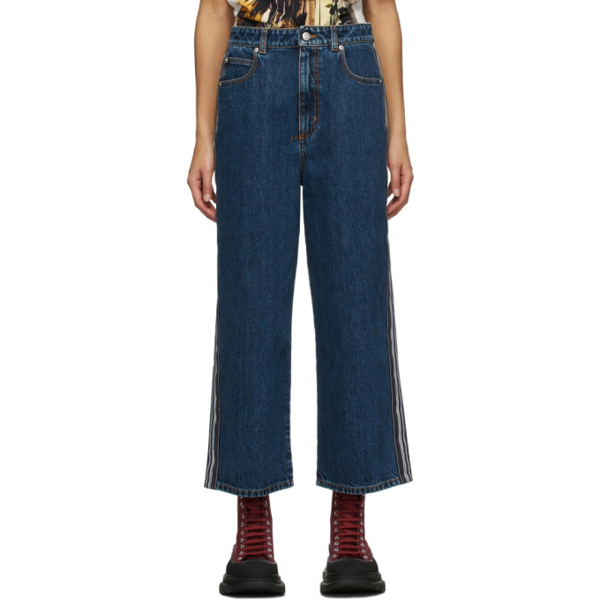 Alexander Mcqueen Contrasting Stripe Boyfriend Jeans In 4089 Blue