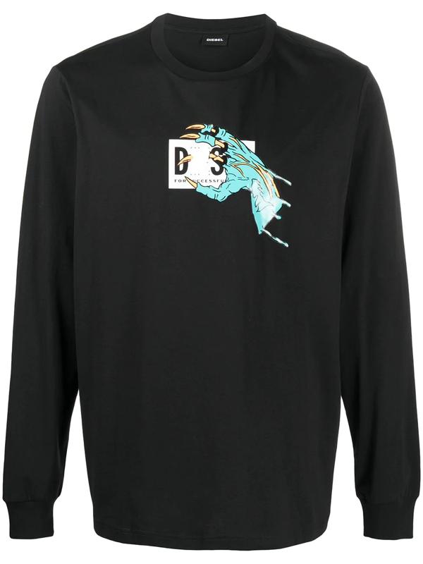 Diesel T-just-ls-a1 T-shirt In Black