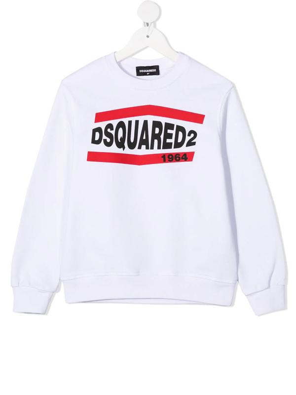 Dsquared2 Kids' Logo Print Cotton Sweatshirt In White