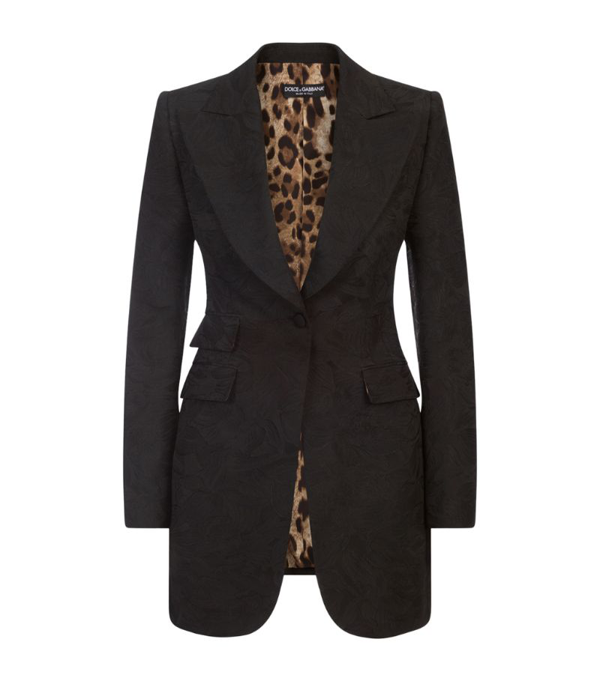 Dolce & Gabbana Long Single-breasted Floral Jacquard Blazer