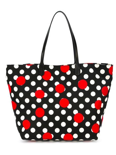 Red Valentino Polka Dot Print Tote In Black