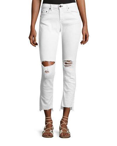 94c7a8e4c93 Rag & Bone Dre Distressed Mid-Rise Capri Jeans, White | ModeSens