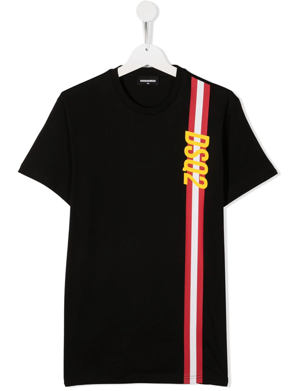 Dsquared2 Teen Logo-print T-shirt In Black