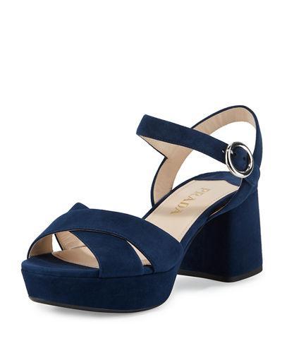 72050fbd495 Prada Suede Crisscross Ankle-Wrap 65Mm Sandal In Blue