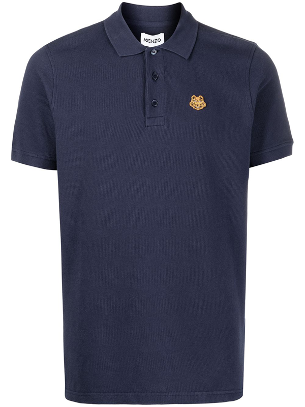Kenzo Cotton Tiger Crest Polo Shirt In Blue
