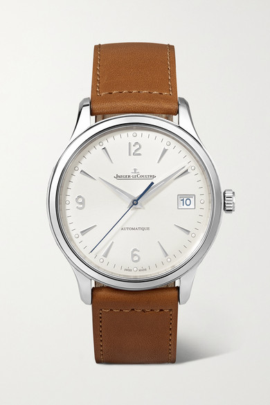 Jaeger-lecoultre Master Control Date Automatic 40mm Stainless Steel And Leather Watch In Silver