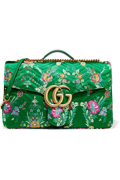 ea9008ea9f4 Gucci Gg Marmont Maxi Quilted Floral-Jacquard Shoulder Bag In Green Multi