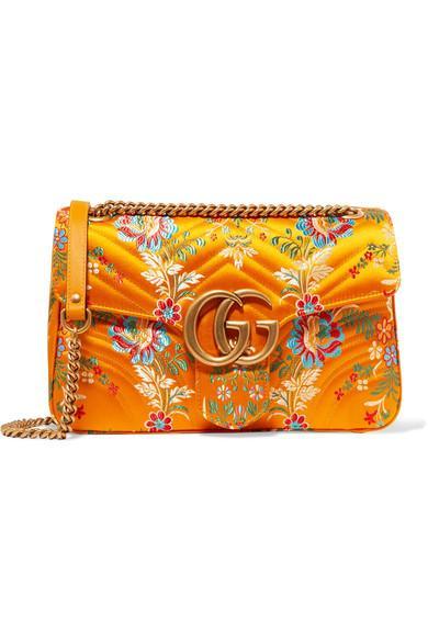 8d9e63d085ce Gucci Gg Marmont Medium Quilted Floral-Jacquard Shoulder Bag | ModeSens