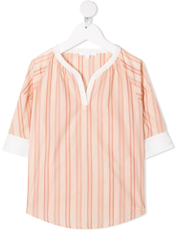 Chloé Kid Pink And White Blouse With Striped Pattern