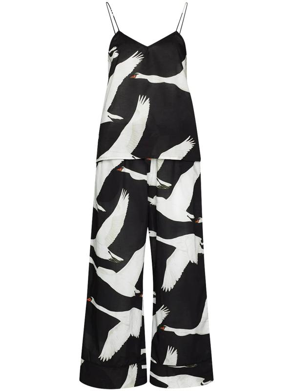 Desmond & Dempsey Cygnus Swan-print Two-piece Pyjama In Black