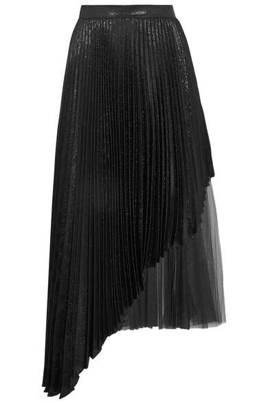 Christopher Kane Asymmetric Pleated LamÉ And Tulle Midi Skirt In Black