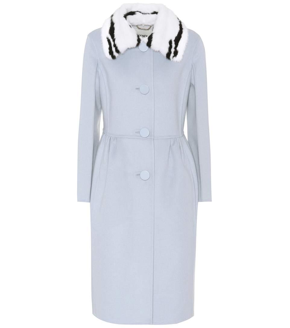 0e63ad3a8626 Fendi Double-Face Wool Coat W Jacquard Mink Collar