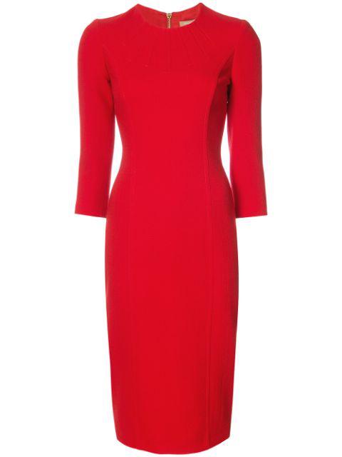 Michael Kors Stretch Wool Boucle Sheath Dress In Crimson