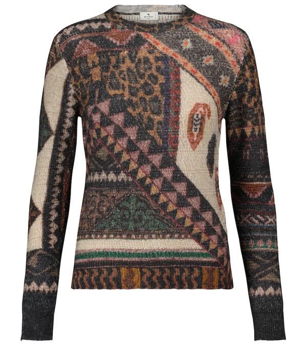 Etro Santa Barbara Patchwork Print Wool & Alpaca Sweater In Multi