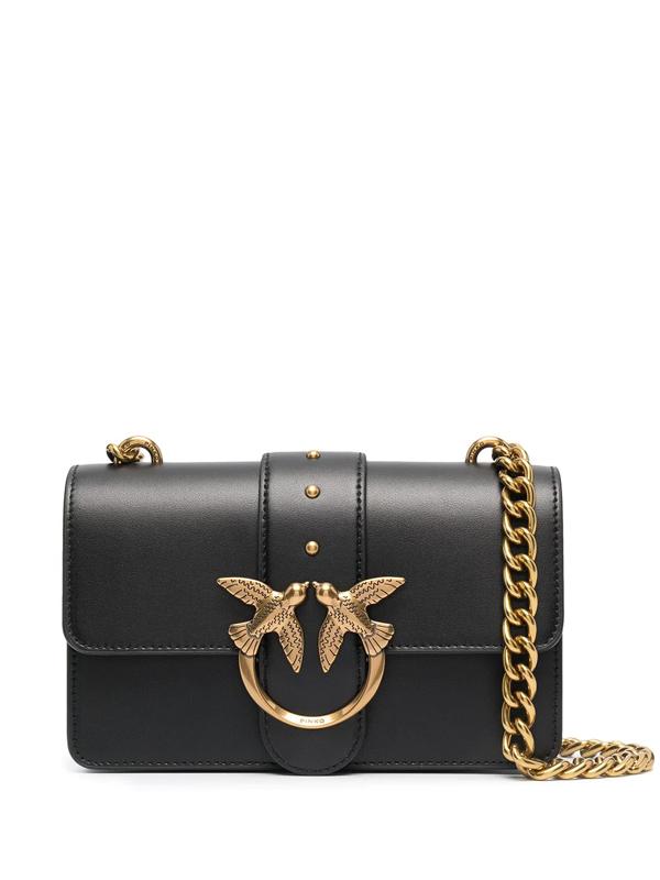 Pinko Mini Love Icon Simply Macro Chain Shoulder Bag In Nero Limousine (black)