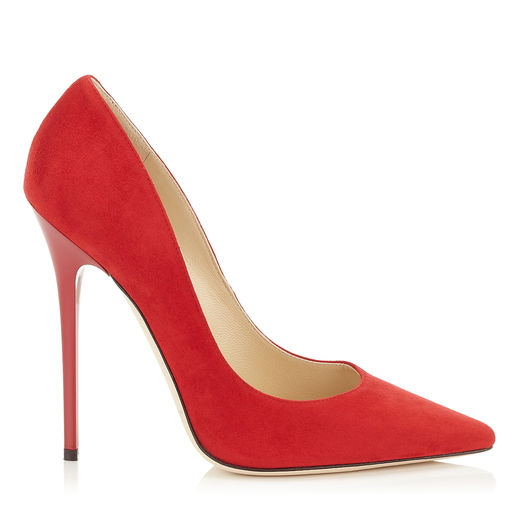 Jimmy Choo Anouk Blackberry Suede Pointy Toe Pumps In Red