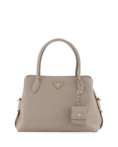 c5e2580d244b Prada Medium Vitello Daino Top-Handle Bag In Light Gray   ModeSens