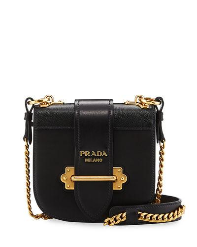 a7a22d0a2fe1 Prada Mini Curved Leather Crossbody Bag In Black | ModeSens