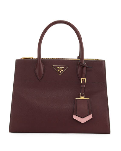 e091235deaa1c8 Prada Paradigme Bag Nera In Pelle Saffiano Bordeaux In Red/Pink ...