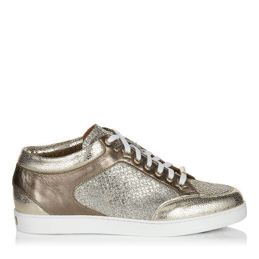 Jimmy Choo Miami Champagne Glitter Fabric And Metallic Nappa Sneakers