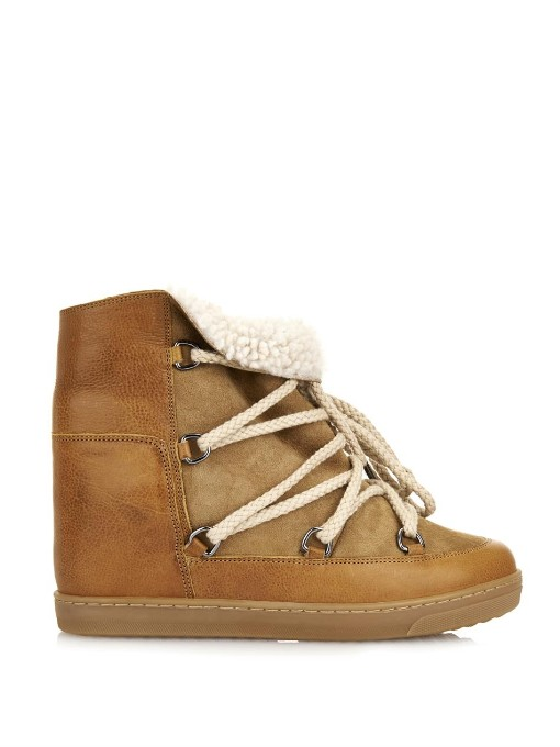 Isabel Marant 70Mm Nowles Shearling Wedged In Camel