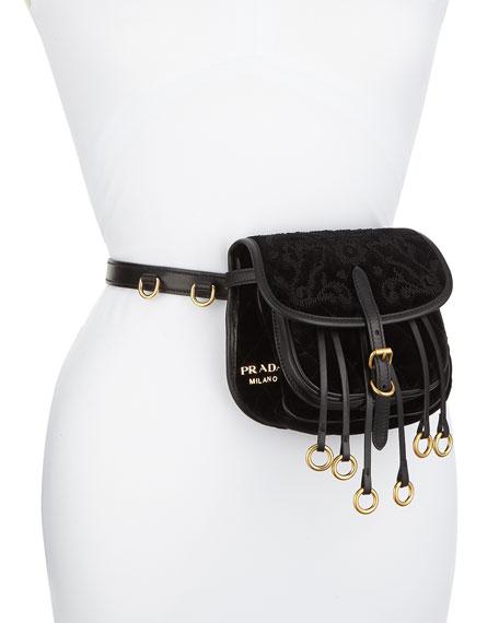 b3b1f10a0d Prada Leather-Trimmed Quilted Velvet Belt Bag In Black