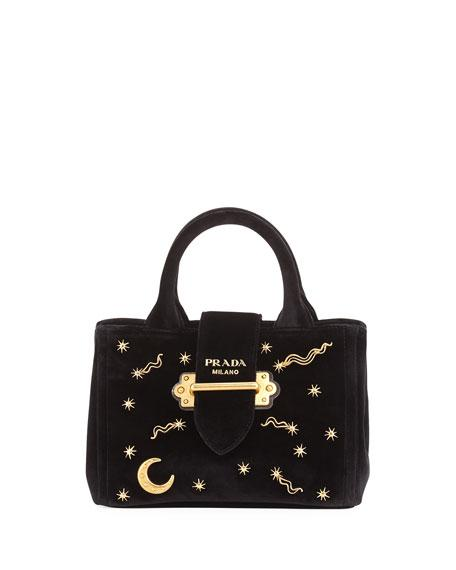 adb5708a1cb2c4 Prada Small Velvet Moon & Star Crossbody Tote Bag, Black (Nero ...