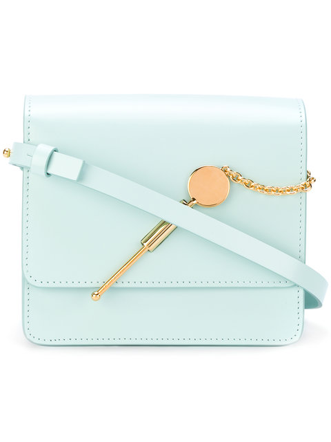 Sophie Hulme 'Cocktail Stirrer' Small Saddle Leather Bag In Turquoise