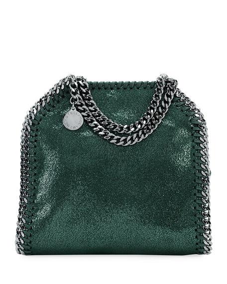 Stella Mccartney Falabella Tiny Shoulder Bag In Dark Green