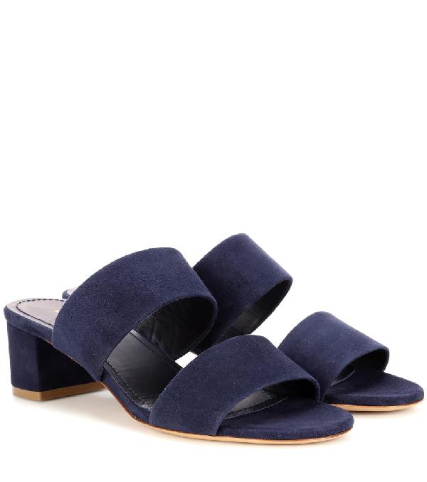 Mansur Gavriel 40Mm Double Strap Suede Sandals In Blue