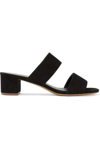 Mansur Gavriel Suede Two-Strap Sandals In Black