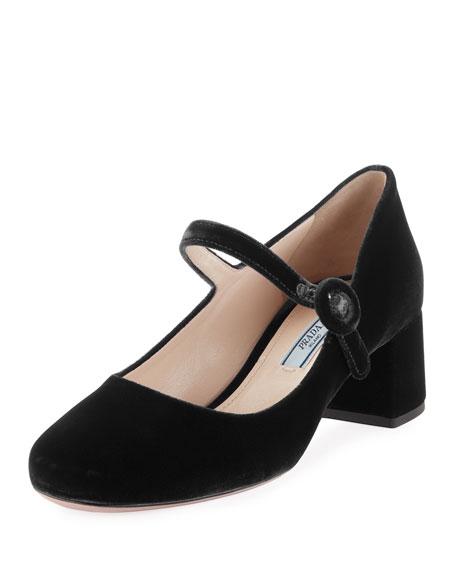 40662a5e6b3 Prada Velvet Mary Jane Block Heel Pumps In Brown
