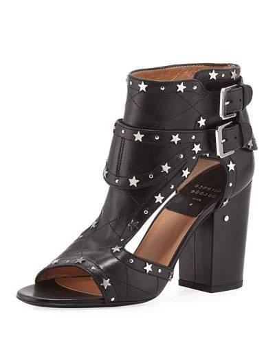 Laurence Dacade Rush Star-Studded Leather Sandal, Black