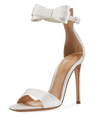 Gianvito Rossi Satin Bow-Tie D'Orsay Sandal In White