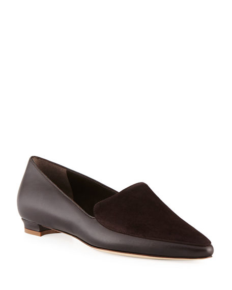 Manolo Blahnik Tintoretta Flat Napa & Suede Loafer In Brown
