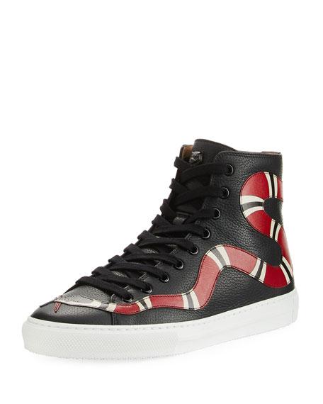 afa633b502 Gucci Leather Kingsnake High-Top Sneaker In Black | ModeSens