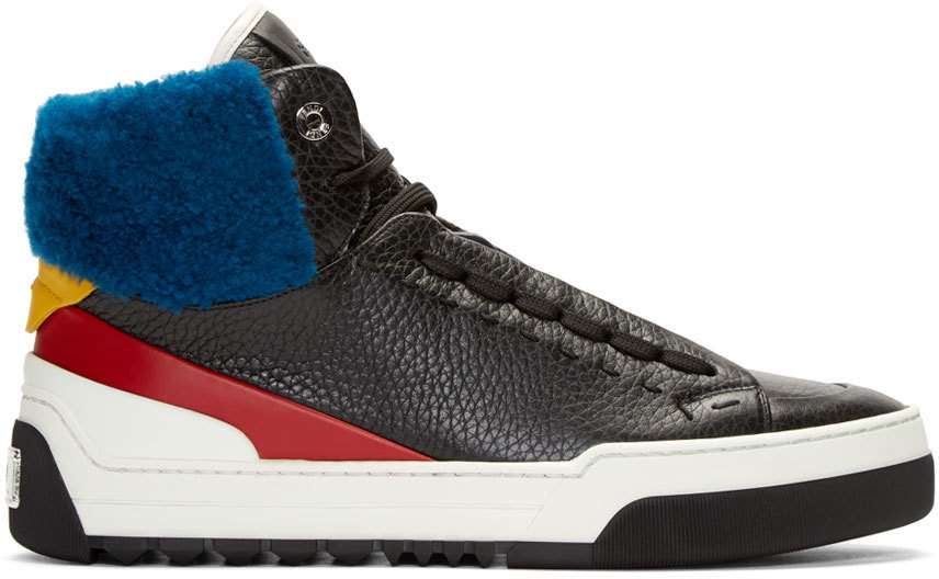 Fendi Men's Leather High-top Sneakers With Sheep Fur, Black/red/blue