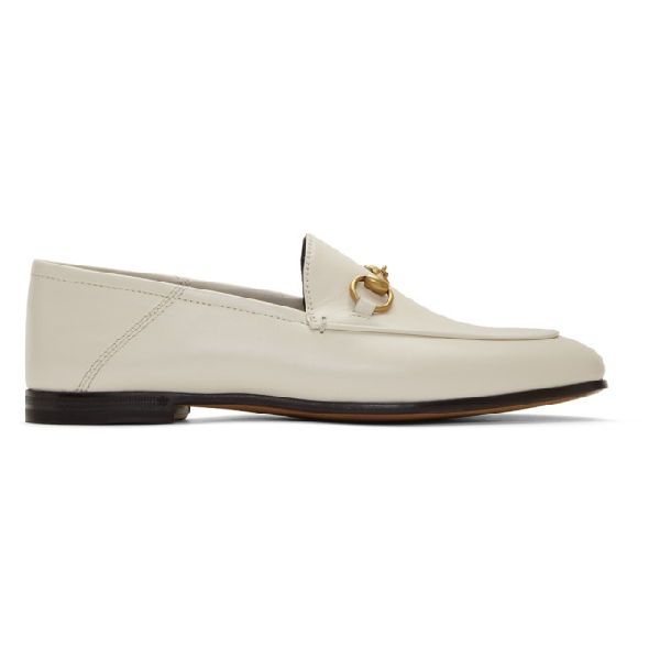 Gucci Brixton Horsebit-detailed Leather Collapsible-heel Loafers In 9022 White