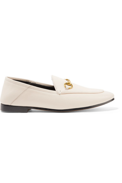 da32c34d732 Gucci Brixton Horsebit-Detailed Leather Collapsible-Heel Loafers In White.  SIZE   FIT INFORMATION