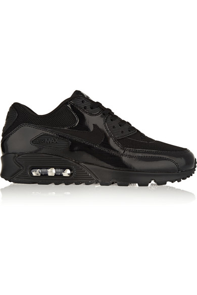 Nike Air Max 90 Premium Leather, Mesh And Suede Sneakers In Black