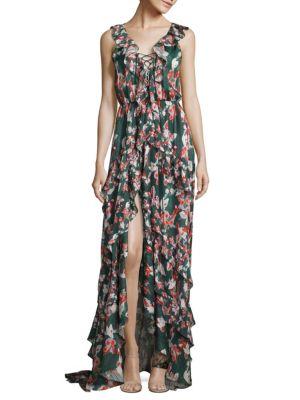 Tanya Taylor Floral Ikat Silk Stripe Oksana Dress In Hunter Green