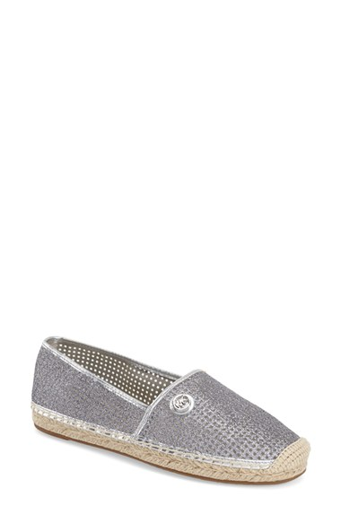 Michael Michael Kors Kendrick Perforated Sparkly Espadrille Flat, Silver, Pale Gold In Grey